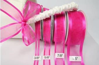 (Fuchsia) - Fuchsia Organza Ribbon With Satin Edge-25 Yards X 2.2cm
