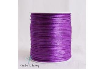 (Purple) - 2mm x 100 yards Rattail Satin Nylon Trim Cord Chinese Knot