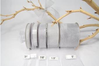 Silver Organza Sheer Ribbon-25 Yards X 1.5 Ribbon
