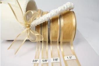 Light Gold Organza Ribbon With Satin Edge-25 Yards X 3.8cm