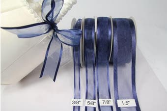Navy Blue Organza Ribbon with Satin Edge-25 Yards X 3.8cm