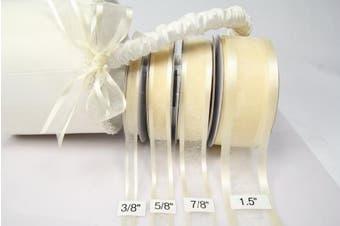 Ivory Organza Ribbon With Satin Edge-25 Yards X 3.8cm