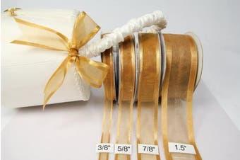 Old Gold Organza Ribbon With Satin Edge-25 Yards X 3.8cm