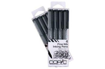 (Set, Black) - Copic Markers Multiliner Fine Pigment Based Ink, 4-Piece Set