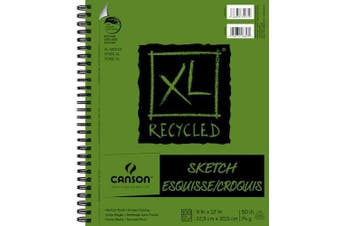 Canson XL Recycled Side Spiral Sketch Paper Pad 9inX12in 100 Sheets