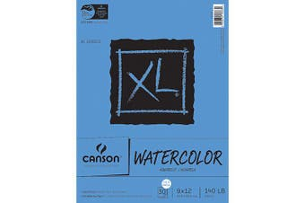 (23cm  x 30cm ) - Canson XL Series Watercolour Textured Paper Pad for Paint, Pencil, Ink, Charcoal, Pastel, and Acrylic, Fold Over, 60kg, 23cm x 30cm , 30 Sheets (100510941)
