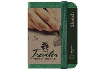 (7.6cm  x 10cm , Green, Sketch/Blank) - C2F Pentalic Sketch Traveller Pocket Journal