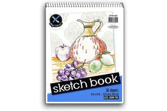 (23cm  x 30cm ) - Top Flight Sketch Book, Heavy Back, Top Wire, 23cm x 30cm , 30 Sheets