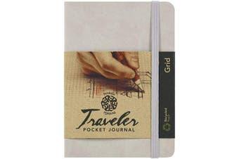 (10cm  x 15cm , Champagne, Grid) - Pentalic Grid Traveller Pocket Journal, 15cm by 10cm , Champagne