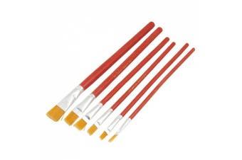 Amico Red Wooden Handle Nylon Head Artist Oil Painting Brush 6 Pcs