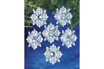"(Filagree Snowflake 1.75"" Makes 12) - Holiday Beaded Ornament Kit"