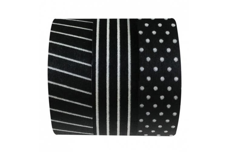 Wrapables Black and White II Japanese Washi Masking Tape, Set of 3