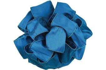 (6.4cm  x 10 Yard, Royal) - Offray Wired Edge Anisha Craft Ribbon, 6.4cm Wide by 10-Yard Spool, Royal