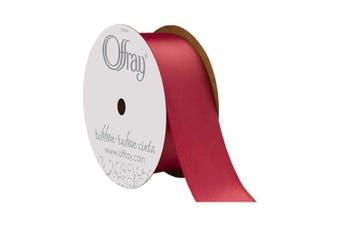 (3.8cm  x 25 Yard, Scarlet) - Offray Berwick 3.8cm Single Face Satin Ribbon, Scarlet Red, 25 Yds