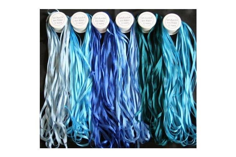 New Threadsrus 6 Spools of 100% Pure Silk Ribbons - Blue Tones - 60 mts x 4mm