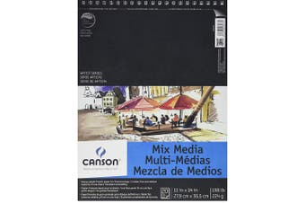 (23cm  x 30cm ) - Canson Artist Series Mix Media Paper Pad for Wet or Dry Media, Dual Surface with Fine and Medium Textures, 60kg, 23cm x 30cm , 20 Sheets
