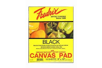 (23cm  x 30cm ) - Fredrix Black Canvas Pads 23cm . x 30cm . 10 sheets