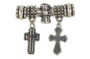 Cousin T346GMB5-99215 Trinkettes Glass and Metal Bead, Cross Bead/Charm
