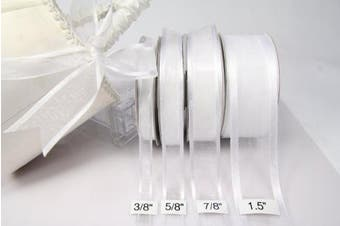 (White) - 1 X White Organza Ribbon With Satin Edge-25 Yards X 1cm