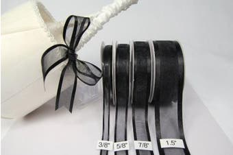 (Black) - Black Organza Ribbon With Satin Edge-25 Yards X 1cm