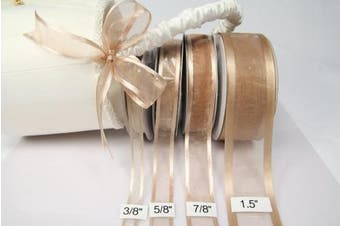 (Toffee) - Toffee Organza Ribbon With Satin Edge-25 Yards X 1cm