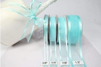 (Aqua) - Aqua Organza Ribbon With Satin Edge-25 yards X 1cm