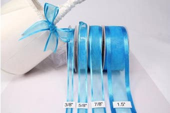 (Turquoise) - Turquoise Organza Ribbon With Satin Edge-25 Yards X 1cm