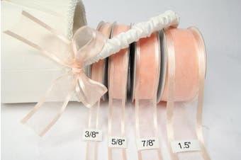 (Peach) - Peach Organza Ribbon With Satin Edge-25 Yards X 1cm