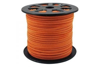 BeadsTreasure Orange Suede Cord Lace Leather Cord For Jewellery Making 3x1.5 mm-20 Feet.