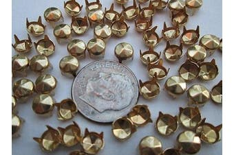 """Nailheads Spots Studs size 20/107 4-prong 3/16"""" (4.5mm) Round with 6 facets; Brass with Bright Gold Finish; 100 Pcs"""