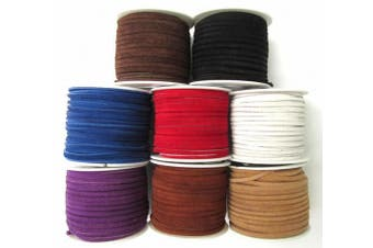 Lace Lacing Leather Suede Assortment Craft Kit 8 yards/8 colours