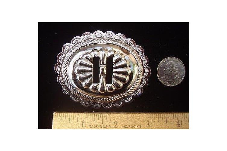 Conchos 7cm Big Oval Classic Western Bright Nickel 6 pieces #50065