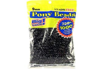 (1000 Beads, Black) - Darice Opaque Black Pony Beads – Great Craft Projects for All Ages – Bead Jewellery, Ornaments, Key Chains, Hair Beading – Round Plastic Bead With Centre Hole, 9mm Diameter, 1,000 Beads Per Bag