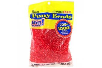 (1000 Beads, Transparent Red) - Pony Beads 6mmX9mm 1,000/Pkg