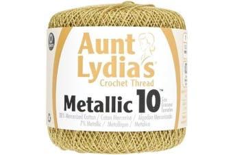 (Pomegranate) - Coats Crochet 154M-0090G Metallic Crochet Thread 10 Gold