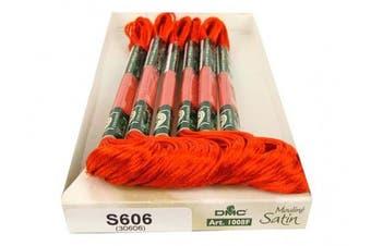 (Orange Red) - DMC 1008F-S606 Shiny Radiant Satin Floss, Orange/Red, 8.7-Yard