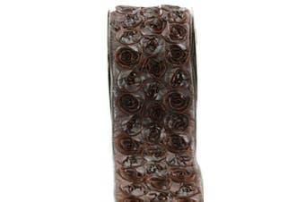 Kel-Toy Dimensional Rose Ribbon, 10cm by 10-Yard, Copper/Blue