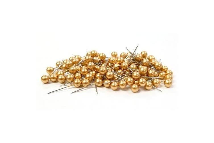 (Gold) - Floral Corsage / Boutonniere Pin 1.9cm Pixie Gold 100pcs