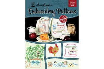 (European) - Aunt Martha's 400 Kitchen Designs Embroidery Transfer Pattern Book, Over 25 Iron On Patterns