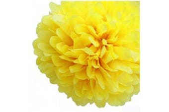 (Yellow) - 10pcs Tissue Paper Pom-poms Flower Ball Wedding Party Outdoor Decoration