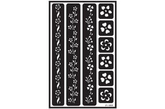 (Flower Border) - Over 'N' Over Reusable Stencils 13cm x 20cm
