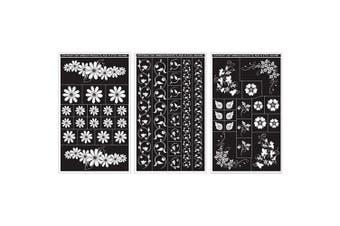 (Floral-Designs) - Armour Products Rub 'n' Etch Glass Etching Stencils 13cm x 20cm 3/Pkg Floral Designs 12-7024