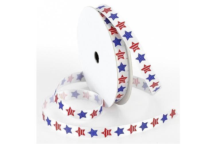 Morex Ribbon Betsy Ross Printed Satin Ribbon Spool, 1cm by 100-Yard, Red/White/Blue