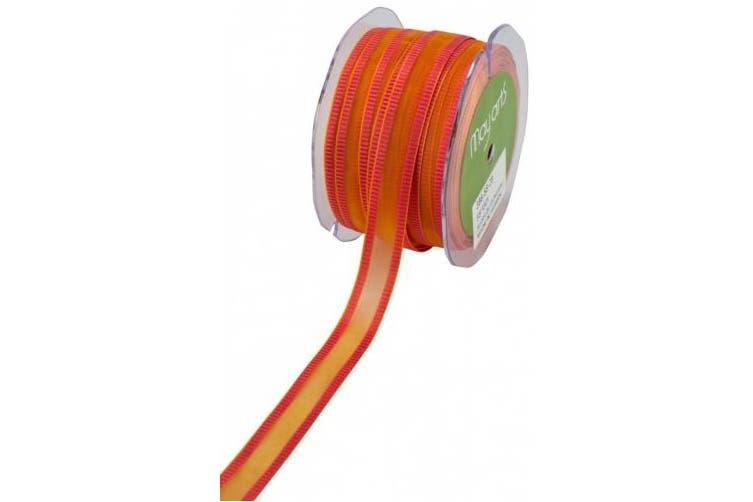 (Orange /Pink) - May Arts 1.6cm Wide Ribbon, Orange Sheer with Pink Striped Edge