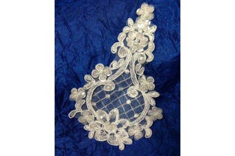 4 pieces, Diamond Shaped Corded, Sequined, Beaded, Organza Applique, Ivory, 10cm x 15cm