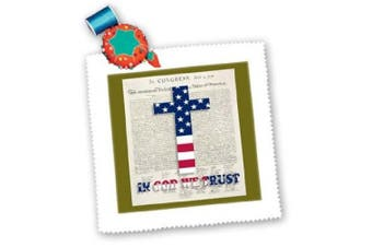 (25cm  x 25cm  quilt square) - . images Designs Graphic Designs Holidays - Declaration of Independence background with Christian cross in USA colours - Quilt Squares