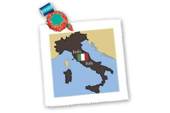images The Map and Flag of Italy with Italy Printed in English and Italian Square Quilt Sheet, 25cm by 25cm
