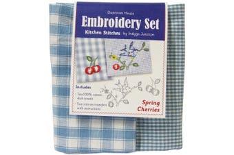 Spring Cherries Kitchen Stitches Embroidery Set-Blue & White Cheque