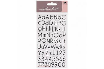 Sticko Alphabet Stickers, Thin Upright Black
