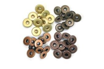 (Warm Metal) - We R Memory Keepers Eyelets for Scrapbooking, Warm Metal, Wide